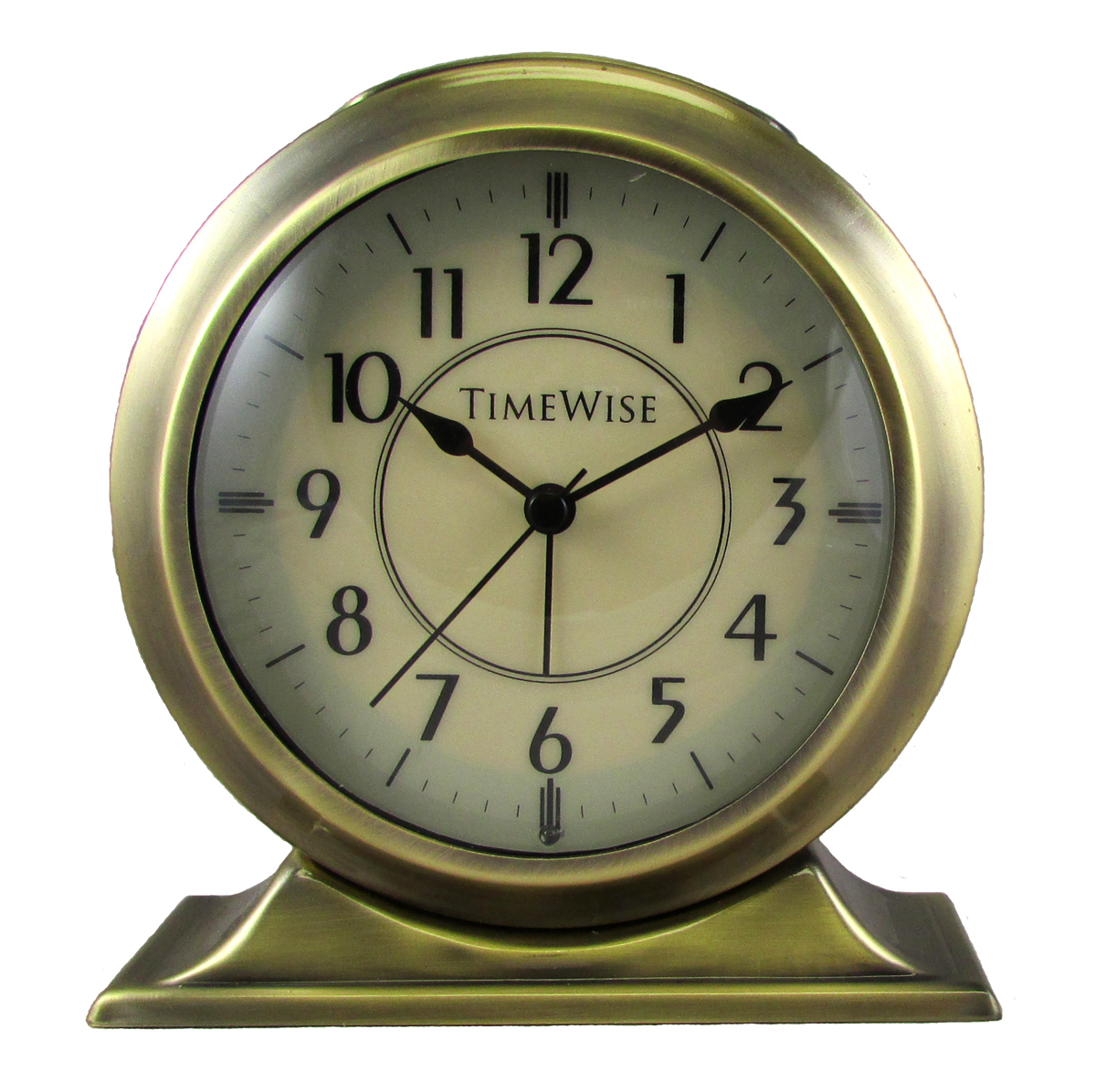 Collegiate metal analog alarm clock brushed gold by timewise for Alarm clocks that work