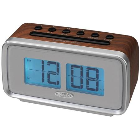 retro am fm dual alarm clock with electric flip display by jensen. Black Bedroom Furniture Sets. Home Design Ideas