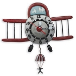 Airplane Jumper Pendulum Wall Clock by Allen Designs
