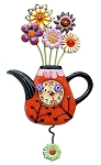 Flower-Tea-Ful Pendulum Wall Clock by Allen Designs