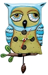 Old Blue Owl Pendulum Wall Clock by Allen Designs