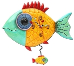Wide-Eyed Fishy Pendulum Wall Clock by Allen Designs