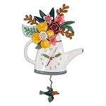Blossoms Flower Watering Can Wall Clock By Allen Designs
