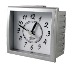 Oxford Silver & White Analog Alarm Clock by TimeWise