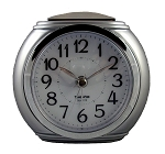 Harvard Silver & Chrome Analog Alarm Clock by TimeWise