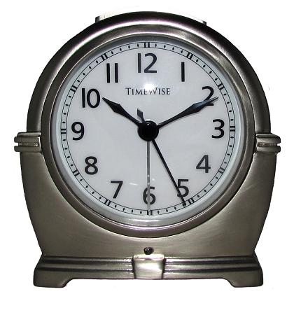 Antero Metal Analog Alarm Clock Brushed Silver By Timewise