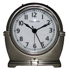 Antero Metal Analog Alarm Clock Brushed Silver by TimeWise