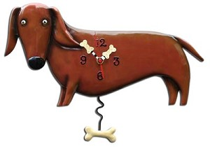 Oscar the Dachsund Pendulum Wall Clock by Allen Designs
