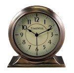 Collegiate Metal Analog Alarm Clock Antique Copper by TimeWise