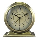 Collegiate Metal Analog Alarm Clock Brushed Gold by TimeWise
