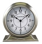 Collegiate Metal Analog Alarm Clock Brushed Silver by TimeWise