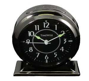 Collegiate Metal Analog Alarm Clock Gunmetal Black by TimeWise