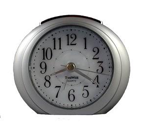 Princeton Silver Amp White Analog Alarm Clock By Timewise