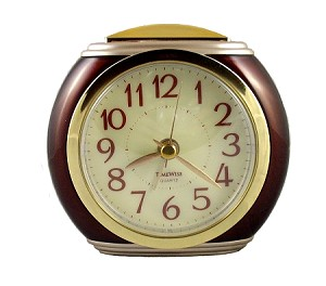 Harvard Mahogany & Gold Analog Alarm Clock by TimeWise