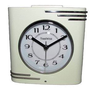 Crestone Alarm Clock Cream and Chrome by TimeWise