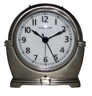 Antero metal analog alarm clock brushed silver by timewise - Large brushed nickel wall clock ...