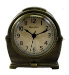 Antero Metal Analog Alarm Clock Antique Brass by TimeWise