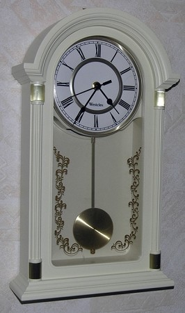 "18"" Pendulum Wall Clock Ivory/Gold by Westclox"
